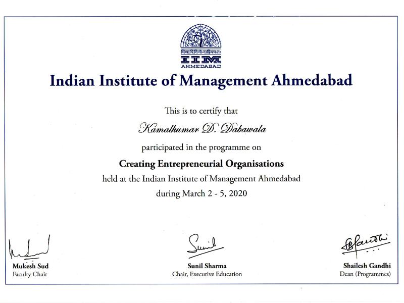 Creating Entrepreneurial Organizations, IIM, Ahmedabad