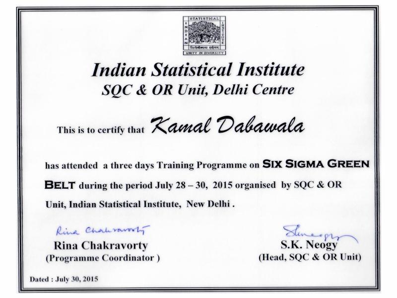 Six Sigma Green Belt, ISI, Delhi