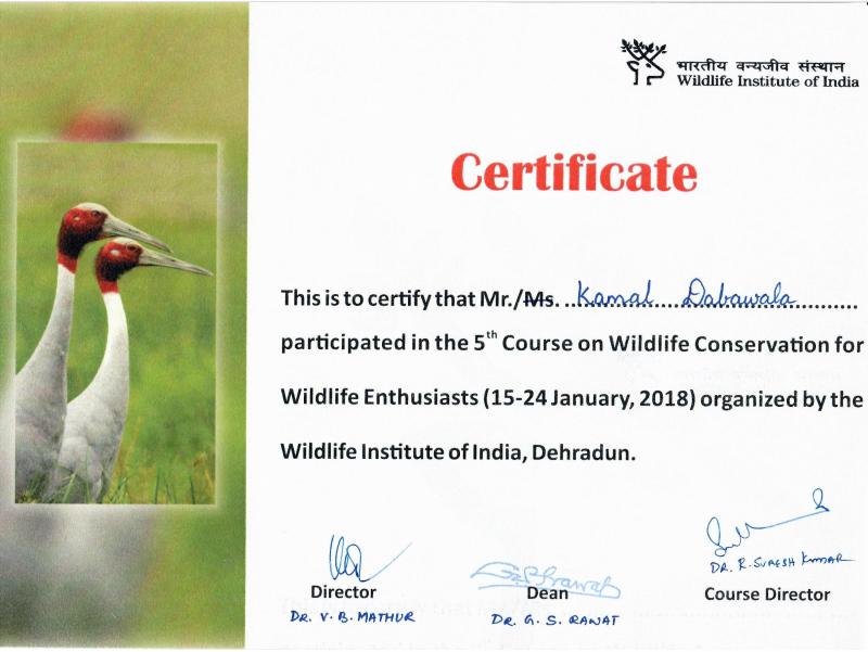 Wildlife Conservation Course for Wildlife Enthusiasts, WII, Dehradun