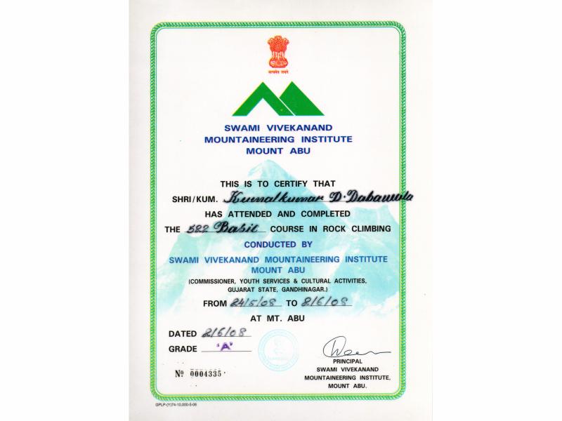Basic Course in Rock Climbing, SVIM, Mt. Abu, Rajasthan, INDIA