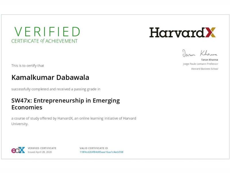 Entrepreneurship in Emerging Economies, HarvardX